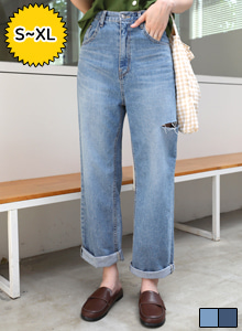 Slashed Wide Leg Jeans