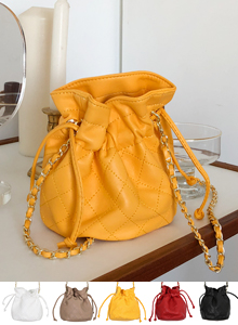 Chain Quilted Bucket Bag