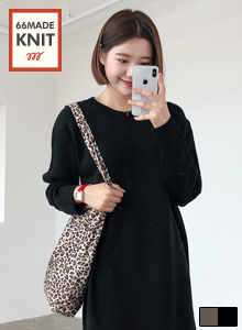 Round Neck Loose Fit Knit Dress