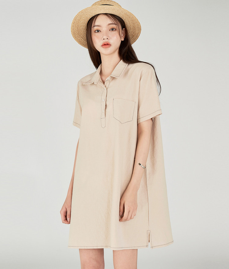 Half Button-up Dress