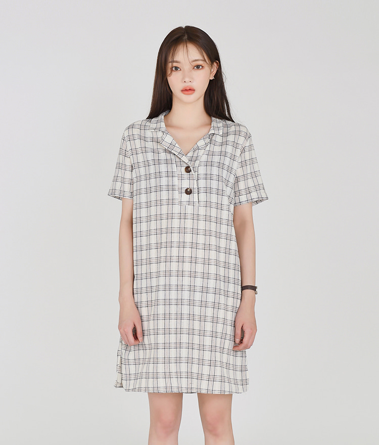 Checked Half Button-up Dress