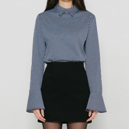 BAUHAUSStriped Shirt With Frilled Cuffs