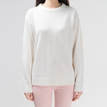 365BASICBasic Round Neck Knit Sweater