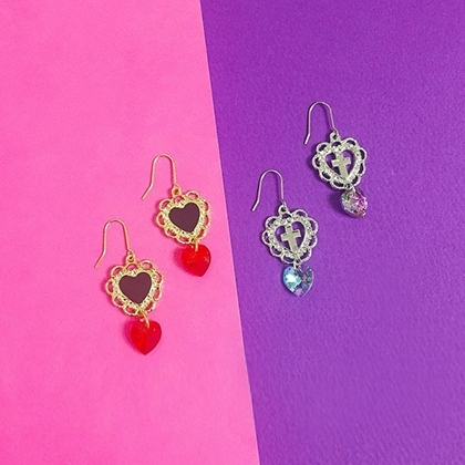 Rhinestone Detailed Heart Hook Earrings