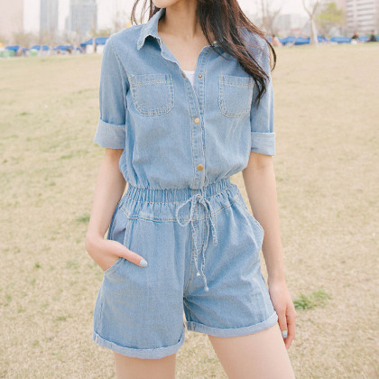 Drawstring Waist Denim Romper