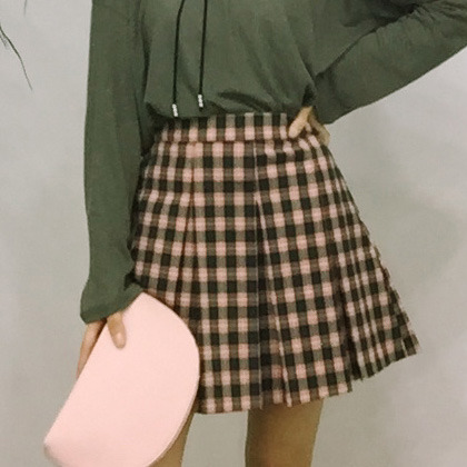 High-Rise Pleated Plaid Skirt