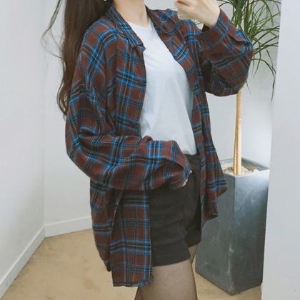 Check Point Collar Boyfriend Shirt