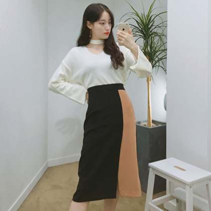 Color Blocked Front Slit Midi Skirt