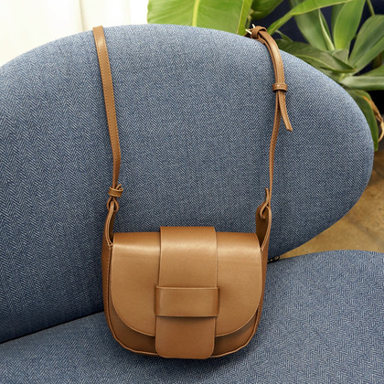 Synthetic Leather Flap Front Crossbody Bag