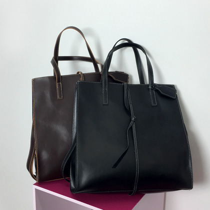 Two-Way Carry Contrast Stitch Square Bag