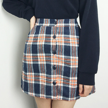 Check Button-Front A-Line Mini Skirt