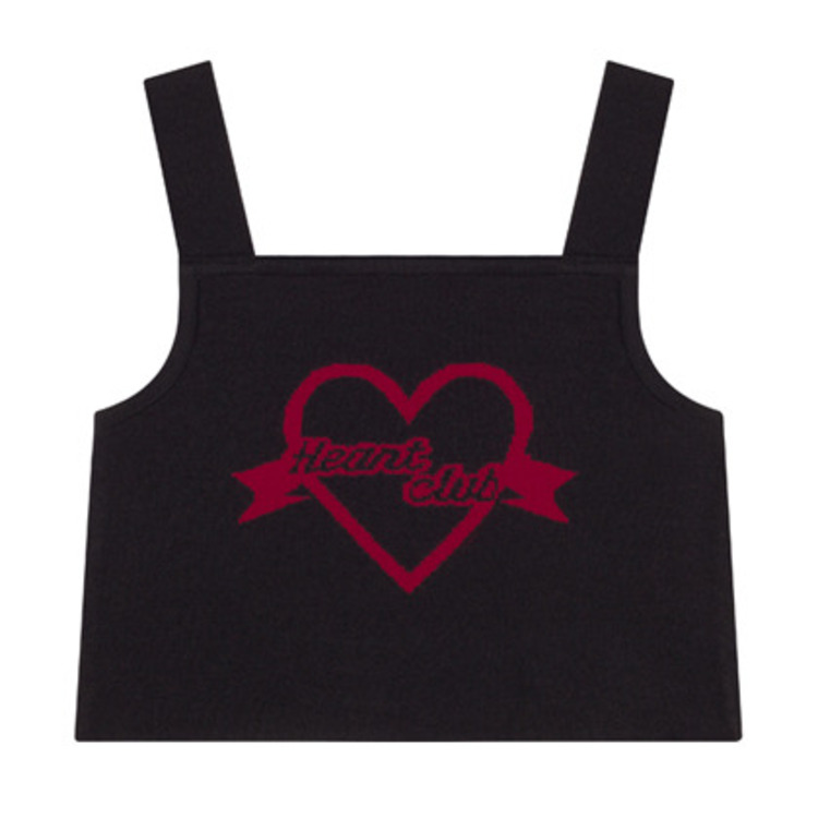HEART CLUBLogo Pattern Sleeveless Crop Top