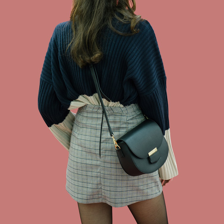 Zip-Up Back Check Skirt