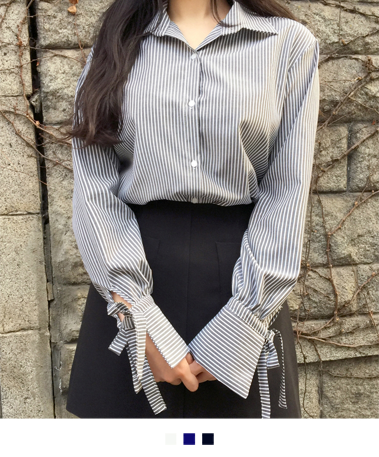 Striped Tied-Cuff Blouse