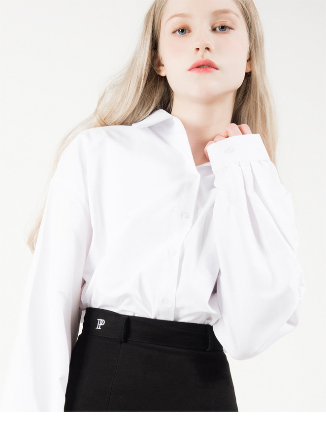 White Extended Sleeve Button-Down Shirt