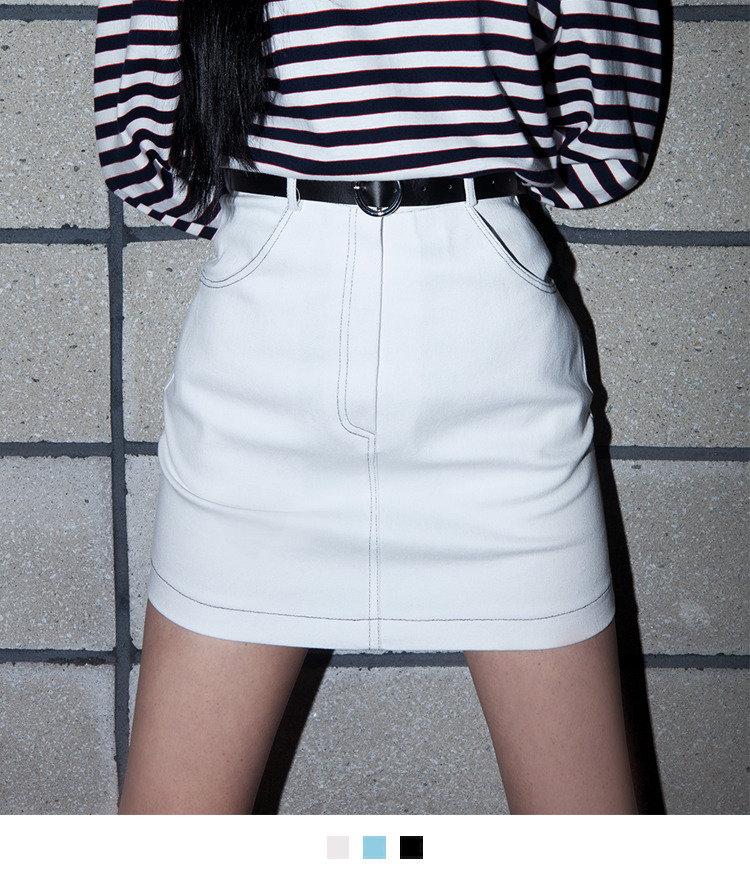 Mini Skirt With Round Buckle Belt