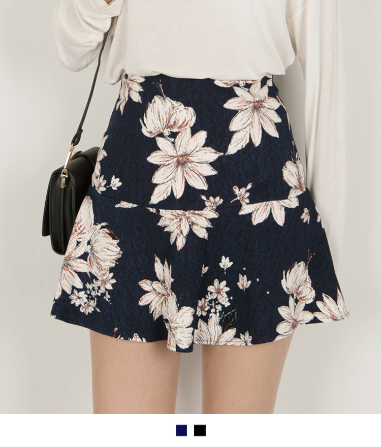 Floral Zip-Up Back Mini Skirt