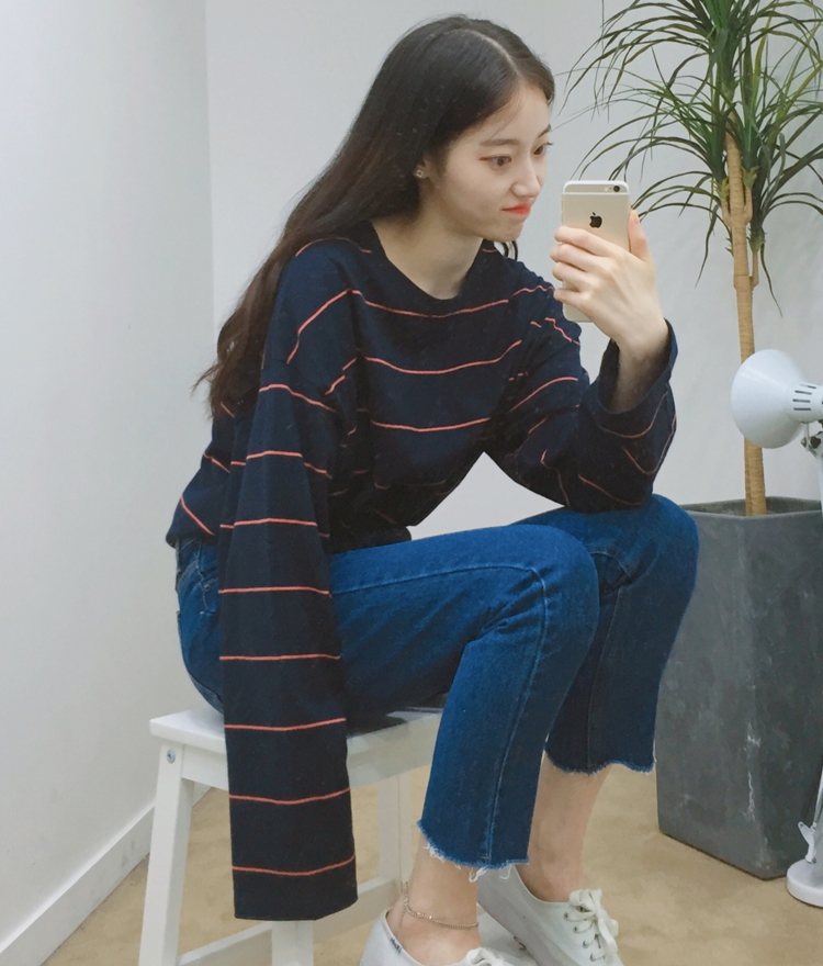 Striped Long Sleeve Loose Fit T-Shirt