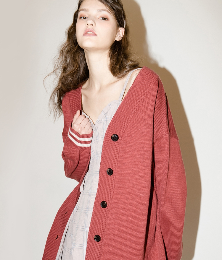 SEEKStriped Cuff Oversized Knit Cardigan