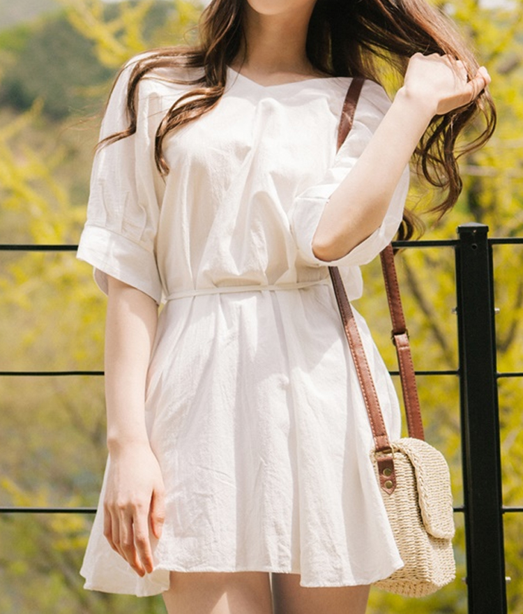 Ivory Drawstring Waist Mini Dress