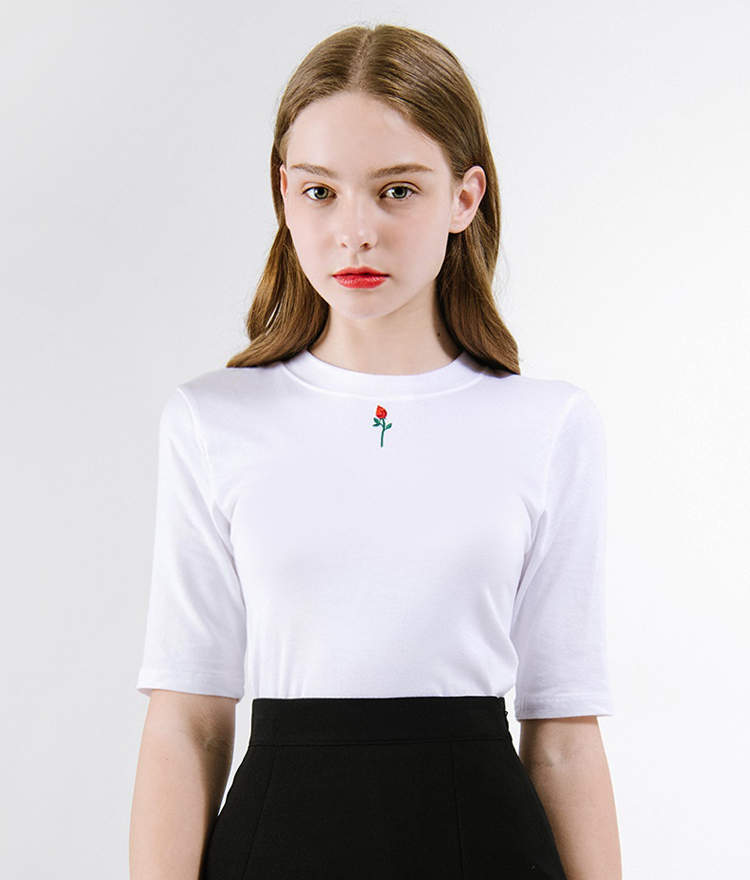 Flower Embroidered Short Sleeve T-Shirt