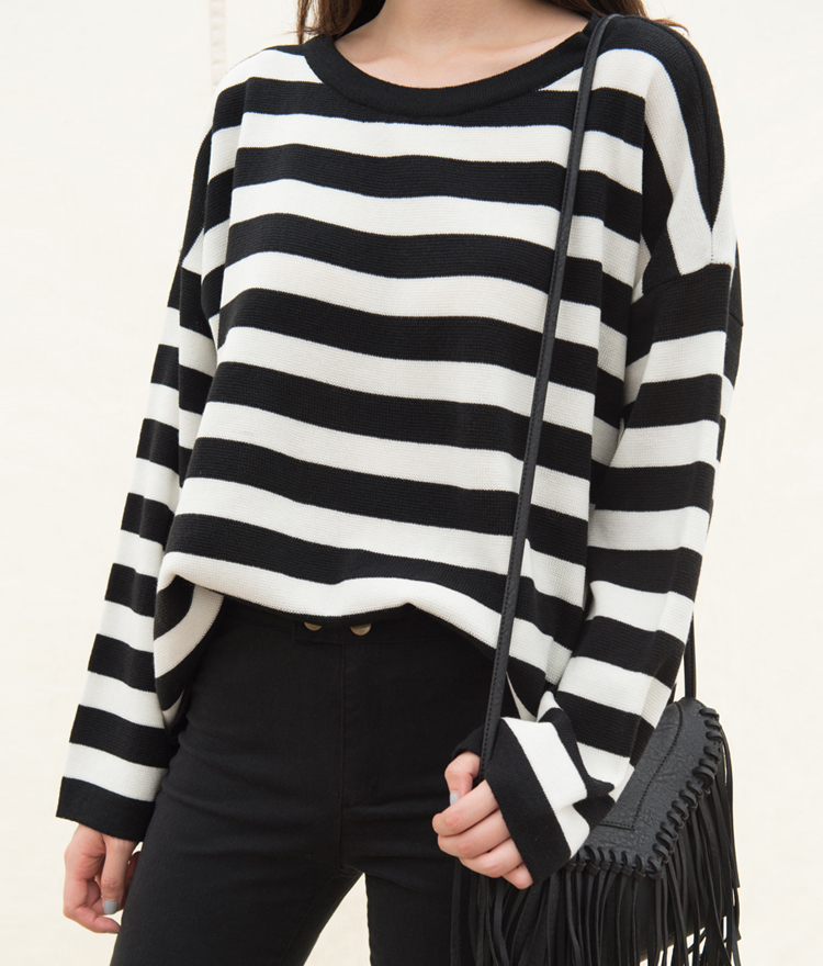 Striped Knit Loose Fit Long Sleeve Top 3517f52538