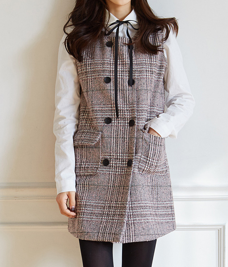 Glen Check Sleeveless Shift Dress