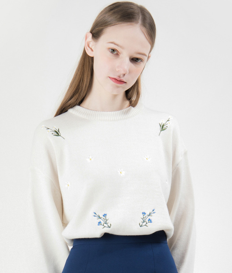 Embroidered Flower Knit Sweater