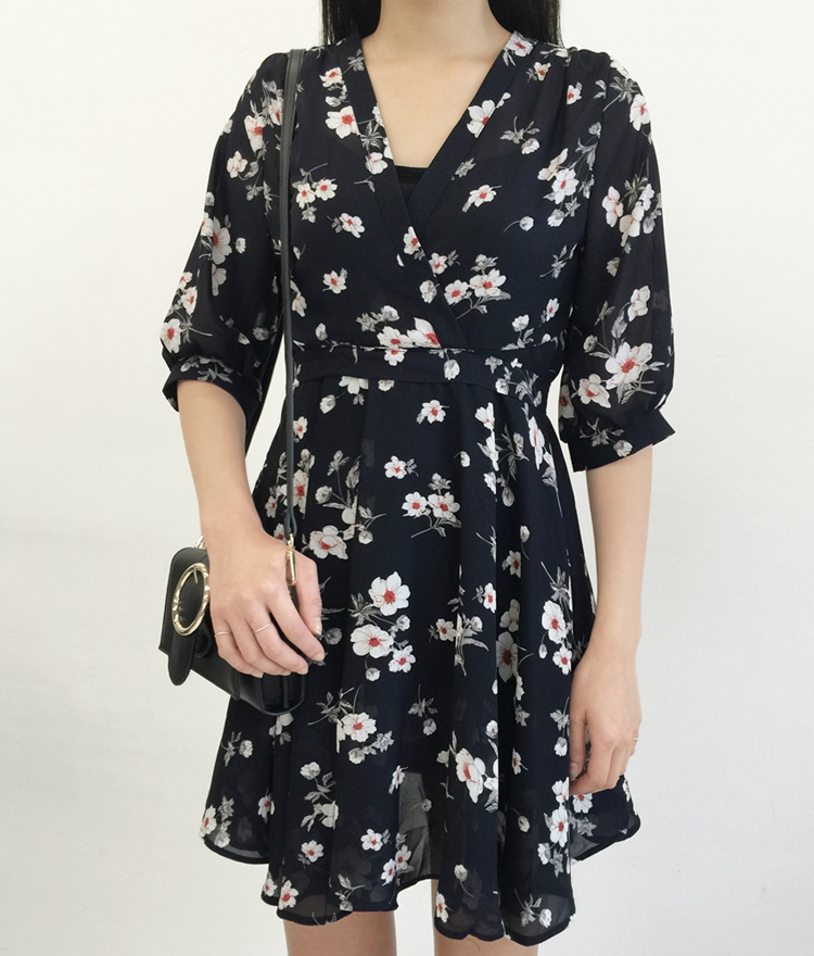 Floral Surplice Neck Mini Dress