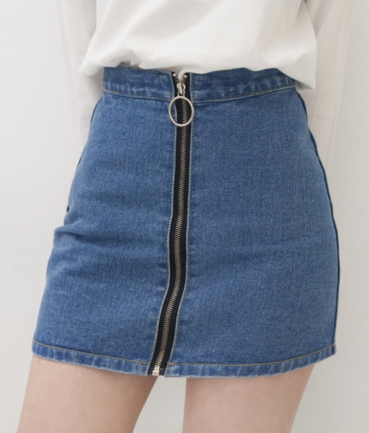 Ring Pull Zipper Front Denim Mini Skirt