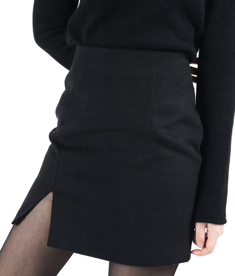 Single Front Slit Mini Skirt