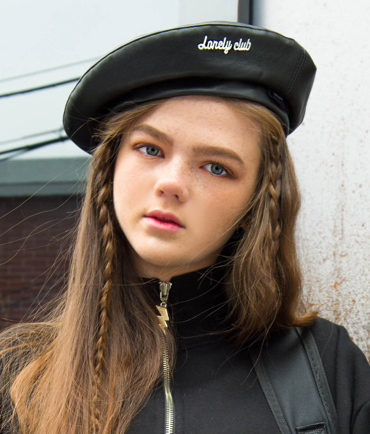 LONELY CLUBContrast Lettering Embroidered Beret