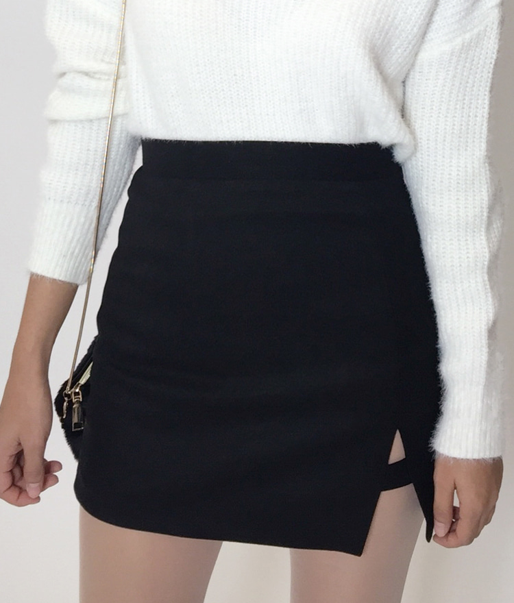 Front Slit Detail Mini Skirt