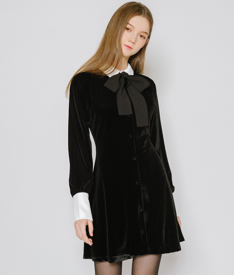 Ribbon Strap Contrast Collar Velvet Dress