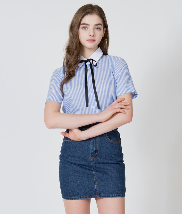 Ribbon Tie Stripe Shirt
