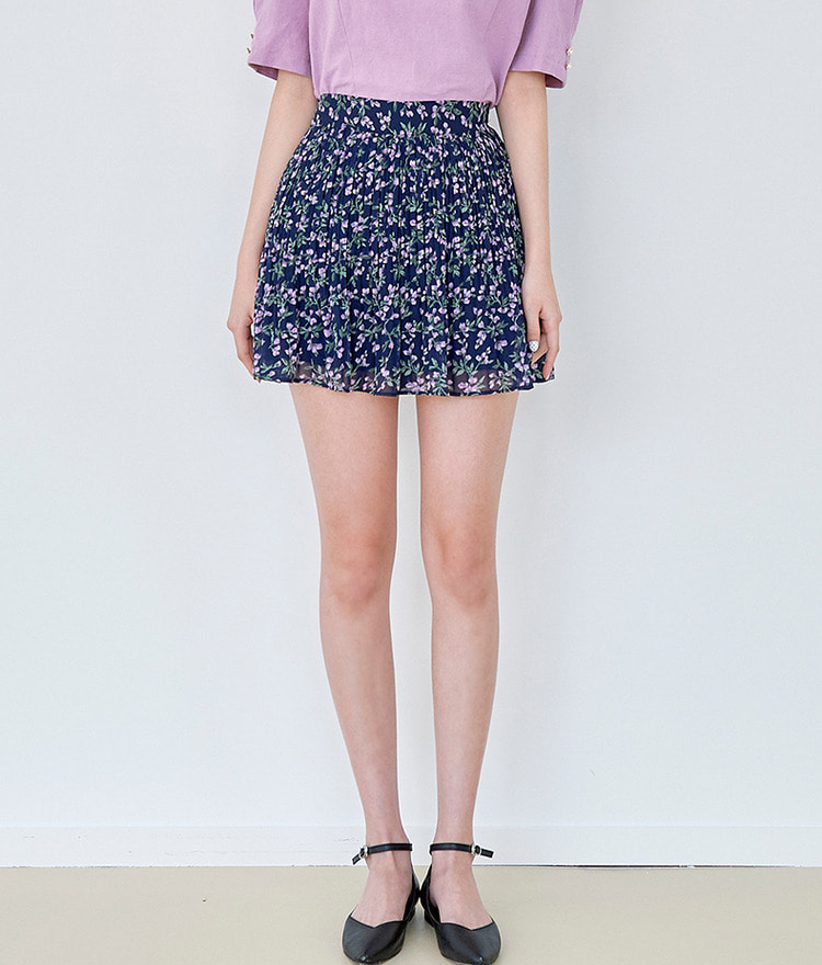 ROMANTIC MUSEFloral Mini Pleated Skirt