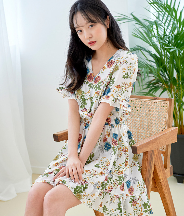 ROMANTIC MUSEShort Sleeve Floral Dress