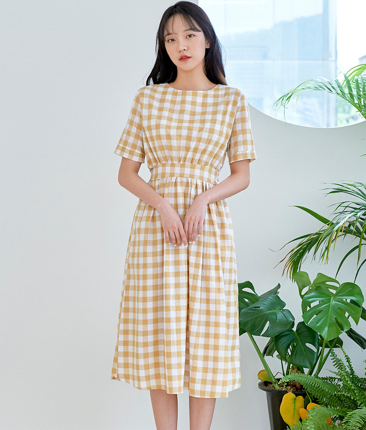 ROMANTIC MUSEShort Sleeve Check Dress