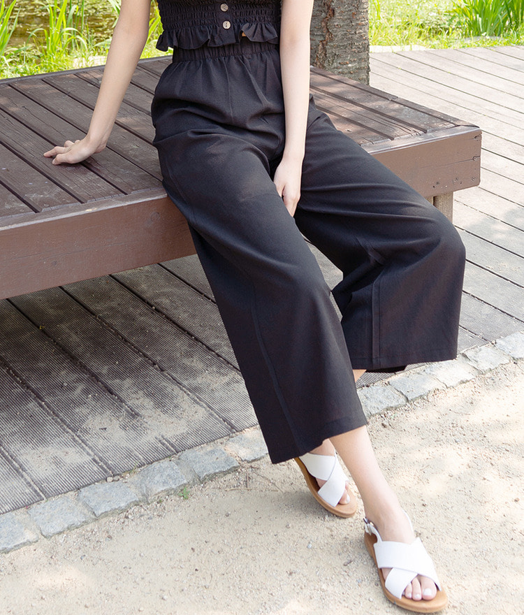 ROMANTIC MUSEElastic Waistband Wide Leg Pants