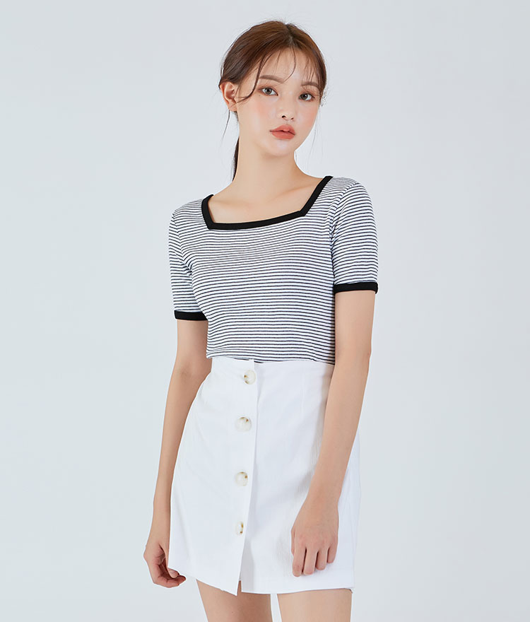 ESSAYStripe Square Neck Top