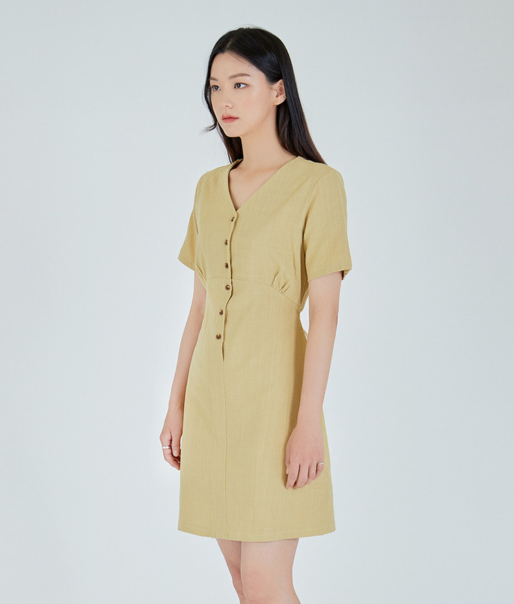 ESSAYV-Neck Button-Up Dress