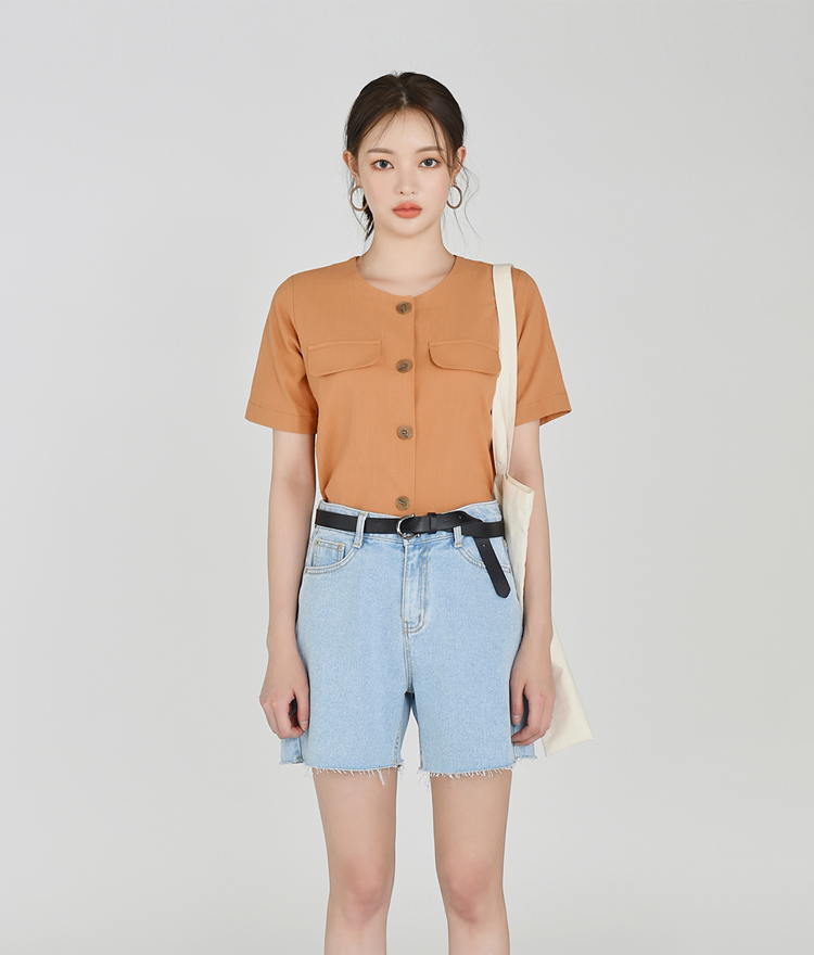 ESSAYButton-Up Round Neck Shirt