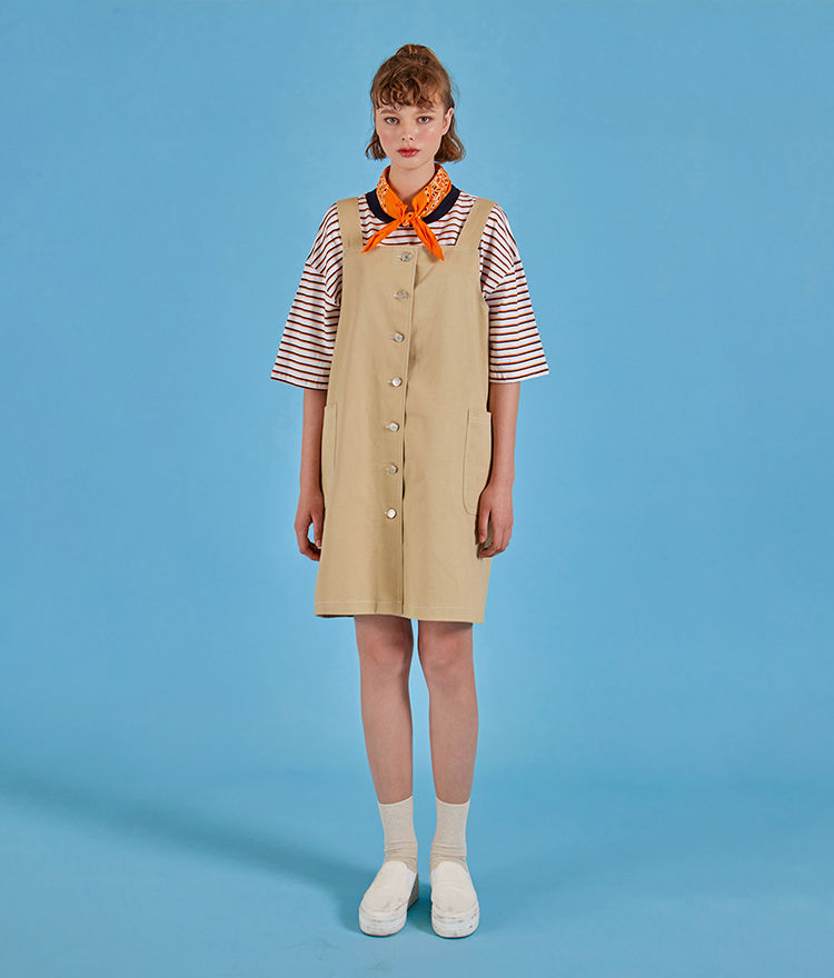 NEVERM!NDContrast Stitch Pinafore Dress