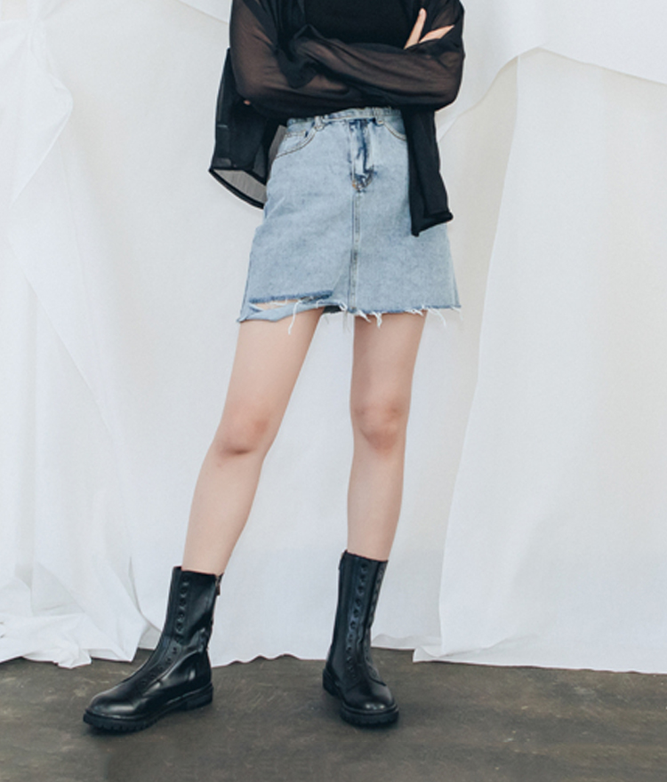 QUIETLABDamaged Hem Denim Skirt