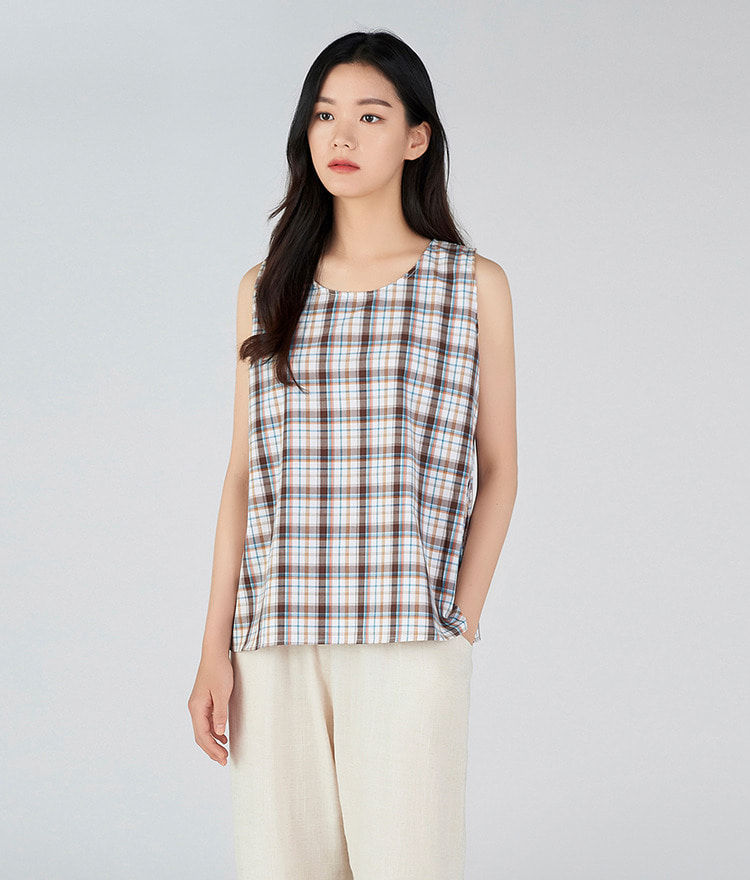 ESSAYRound Neck Check Sleeveless Top