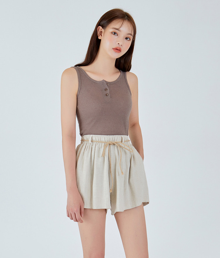 ESSAYHenley Neck Ribbed Sleeveless Top