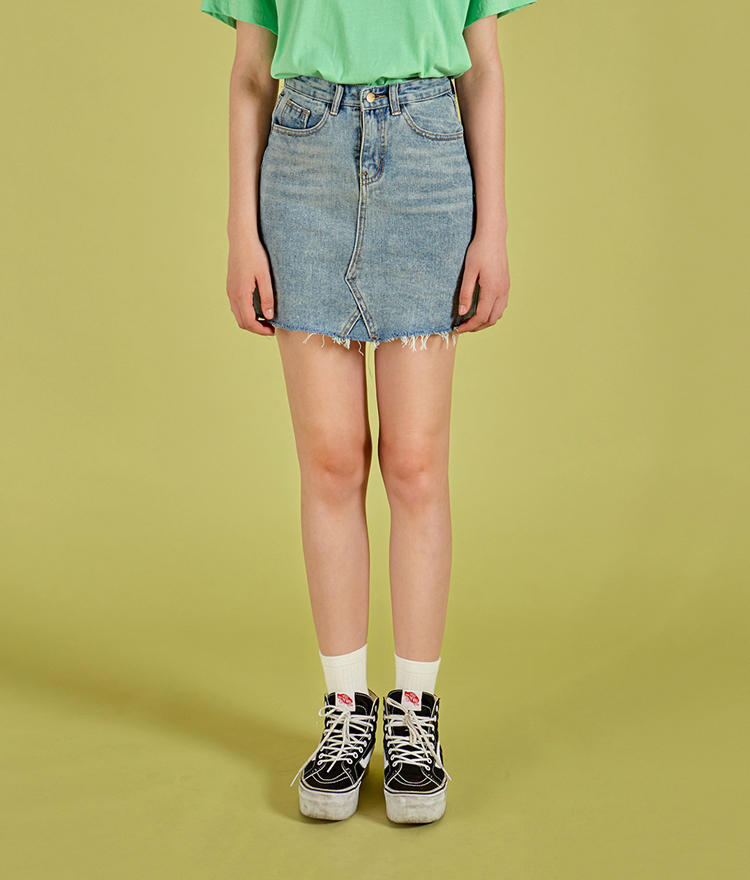 NEVERM!NDRaw Hem Denim Skirt
