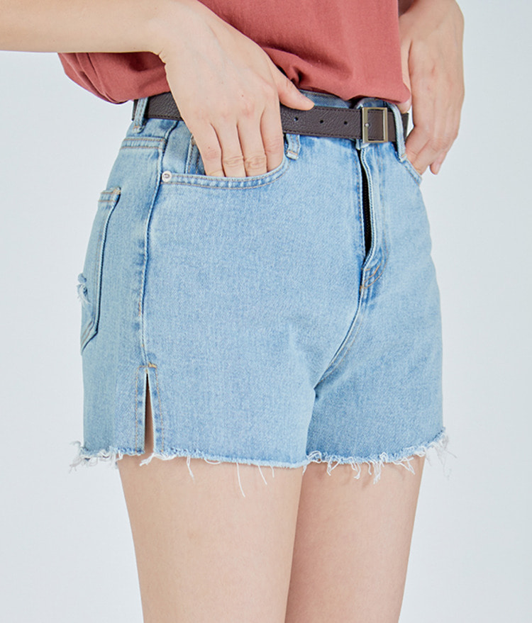 ESSAYSide Slit Raw Hem Denim Shorts