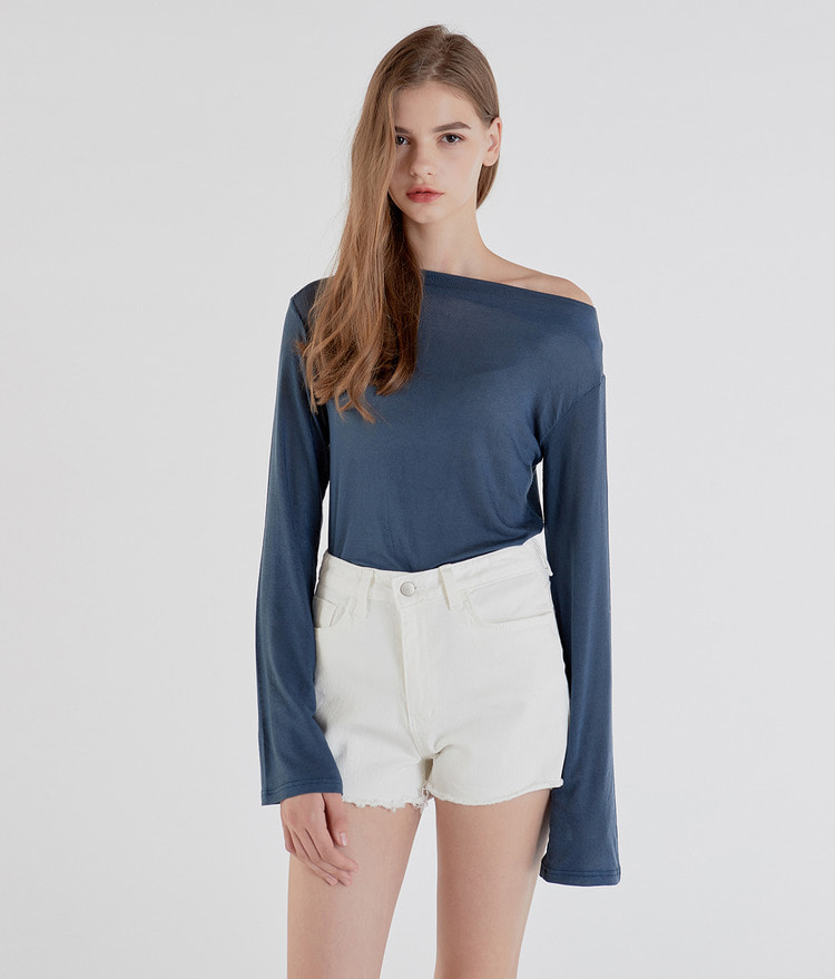 ESSAYBoat Neck Long Sleeve Top