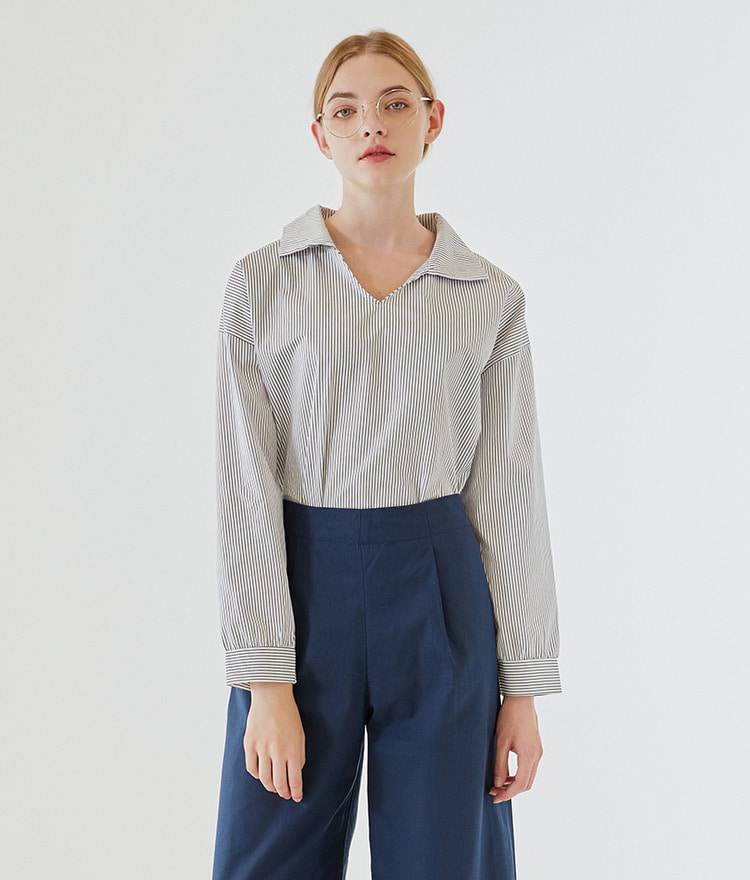 ESSAYOpen Collar Stripe Shirt